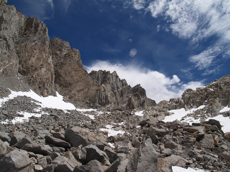 Starlight Peak and North Palisade from Dusy Basin below Thunderbolt Pass