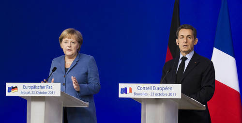 Ms. Angela Merkel, German Federal Chancellor and Mr. Nicolas Sarkozy, French President at the joint press conference following the European Council, 23 October 2011