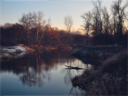 autumn sunset river landscape