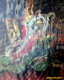 Colorful eaves of the Longshan Temple, Overlayering artwork,Taipei, Taiwan,  SJKen , Nov, 2011