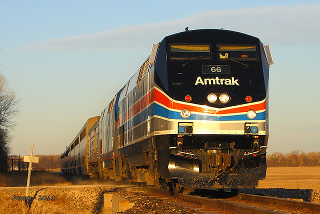 Eastbound Amtrak Southwest Chief Train #4 - AMTK 66 at Lecompton, KS