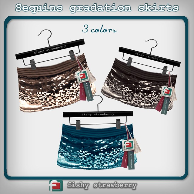 Sequins gradation skirts