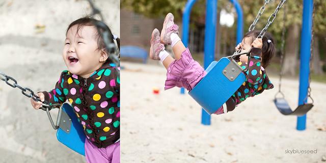 Noelle loving the swing