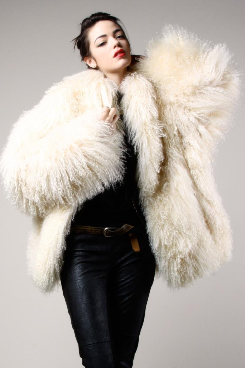 Thrifted-Modern-tibetan fur coat