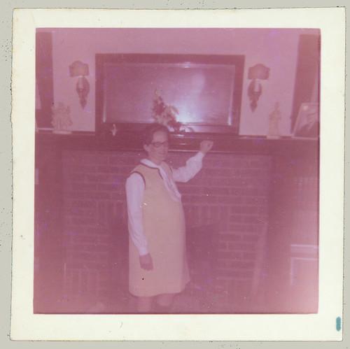 Girl by fireplace (original)