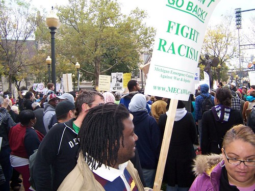 Thousands marched in Detroit on October 14, 2011. The event was sponsored by Occupy Detroit and resulted in the occupation of Grand Circus Park. (Photo: Kris Hamel) by Pan-African News Wire File Photos