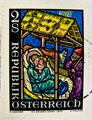 beautiful stamp Austria 2.00 S Schilling christmas crib (stained glas window of church St. Erhard, Styria;) Christmas xmas stamp selos selo Navidad timbre noel Autriche postage 2 S Kerstmis joulu Weihnachten noel navidad Божић natal क्रिसमस natale クリスマス