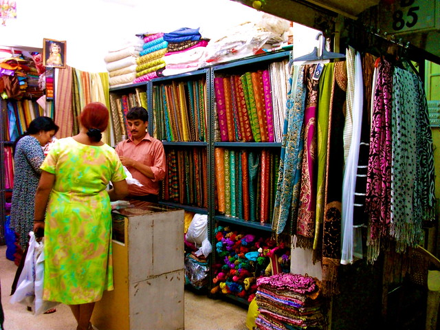 Exquisite Fabrics at a Market in India