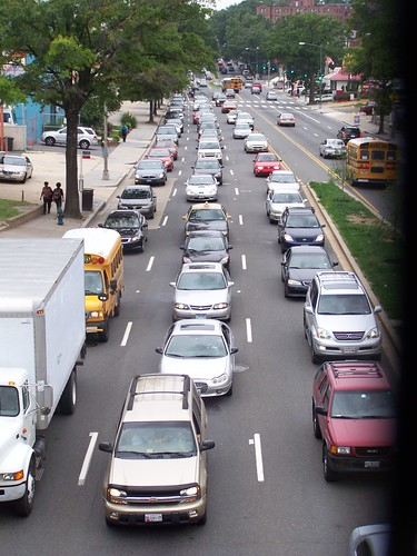 Traffic lined up on Rhode Island Avenue NE, east of 4th Street