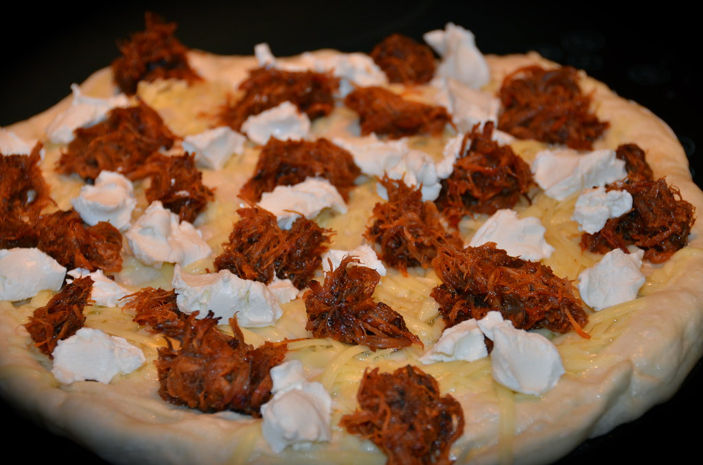 BBQ Pork Pizza with Goat Cheese