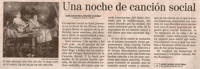 Periódico El Colombiano Medellín Agosto 7 de 2009