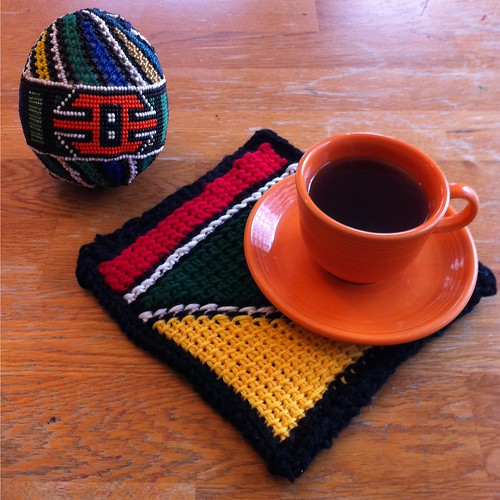Ndebele Inspired Tunisian Crochet Potholder