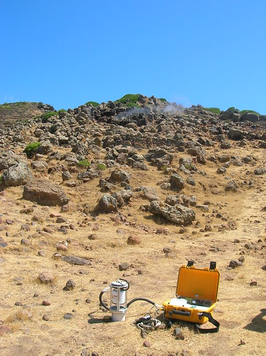 My portable Non-Dispersive Infra-Red (NDIR) gas analyser measuring CO2 flux in front of Favara Grande, Pantelleria