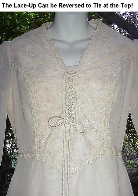 Cream GUNNE Sax Vintage Hippie Gown LaceUp Corset Bust
