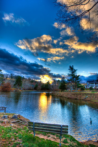 park blue autumn trees sunset sky lake tree fall water clouds canon bench nc high dynamic asheville mark louise ii 5d range hdr weaverville