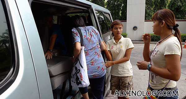Boarding a Helping Hands van which will be taking us to the Klong Toey Market and the cooking school