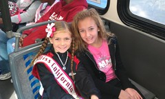 National American Miss California on the shuttle to Disney