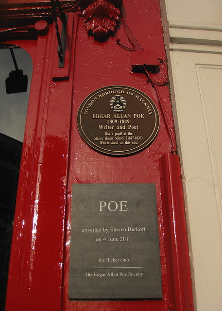Photo of Edgar Allan Poe brown plaque