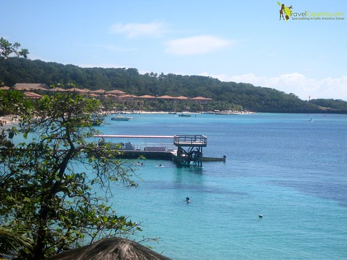view from private porch of hotel roatan honduras