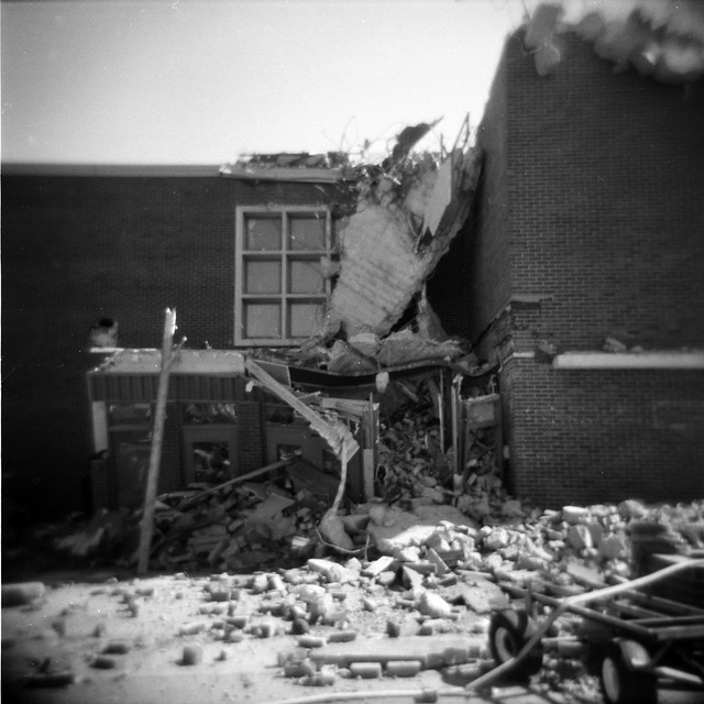 Rubble at the Old Bellevue High School