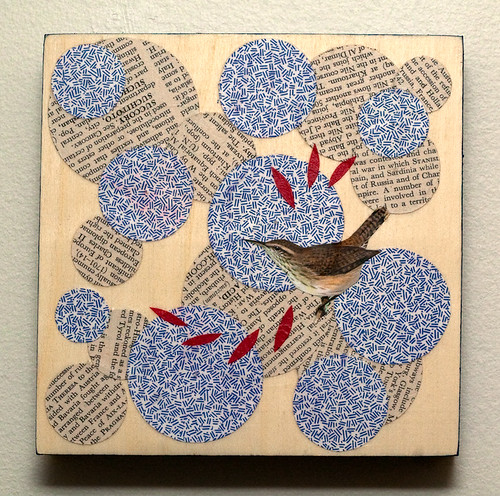 Bird collage on wood-3