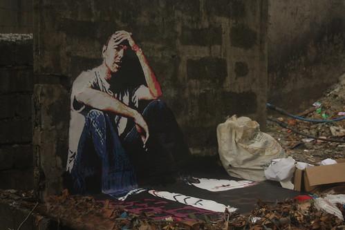 3D street art, the Hotstepper - Karl Pilkington in Manila, Philippines