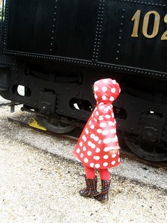 Red polka-dot raincoat made of Ikea oilcloth