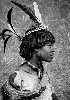 Bana Tribe woman with feathers - Key Afer Ethiopia
