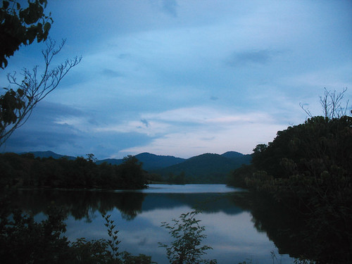 blue sky lake water silhouette clouds landscape nc twilight woods asheville beaverdamlake public2011