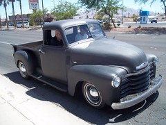 1941 ford(0.0), mid-size car(0.0), compact car(0.0), hot rod(0.0), antique car(0.0), automobile(1.0), automotive exterior(1.0), pickup truck(1.0), vehicle(1.0), truck(1.0), chevrolet advance design(1.0), land vehicle(1.0), motor vehicle(1.0),