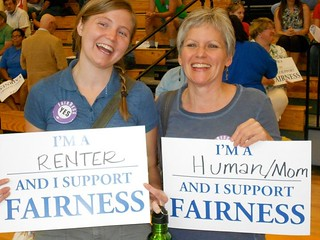 Megan Naseman and Jeanne Hibberd at Berea Fairness forum in May of 2011