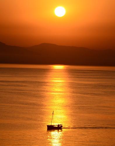 sunset sun sunrise boat fishing aegean kos greece fishingboat