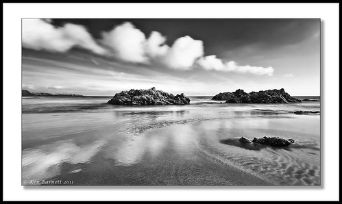 longexposure sea blackandwhite bw beach water wales clouds canon reflections mono sand pembrokeshire 30d marloes sigma1020mm kdb marloessands
