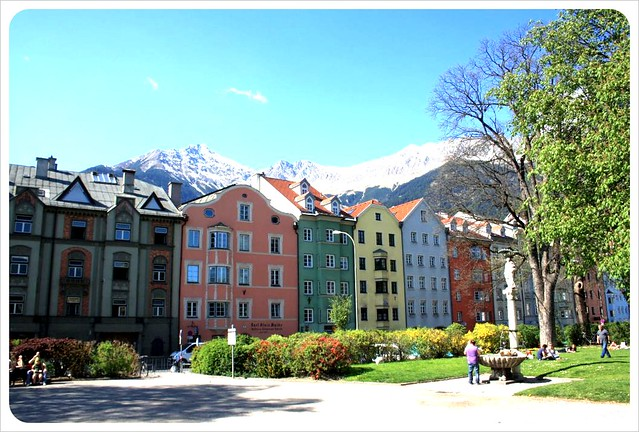 Innsbruck houses & snow-covered mountains