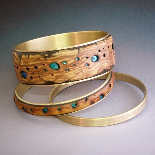 Faux burl wood bangles