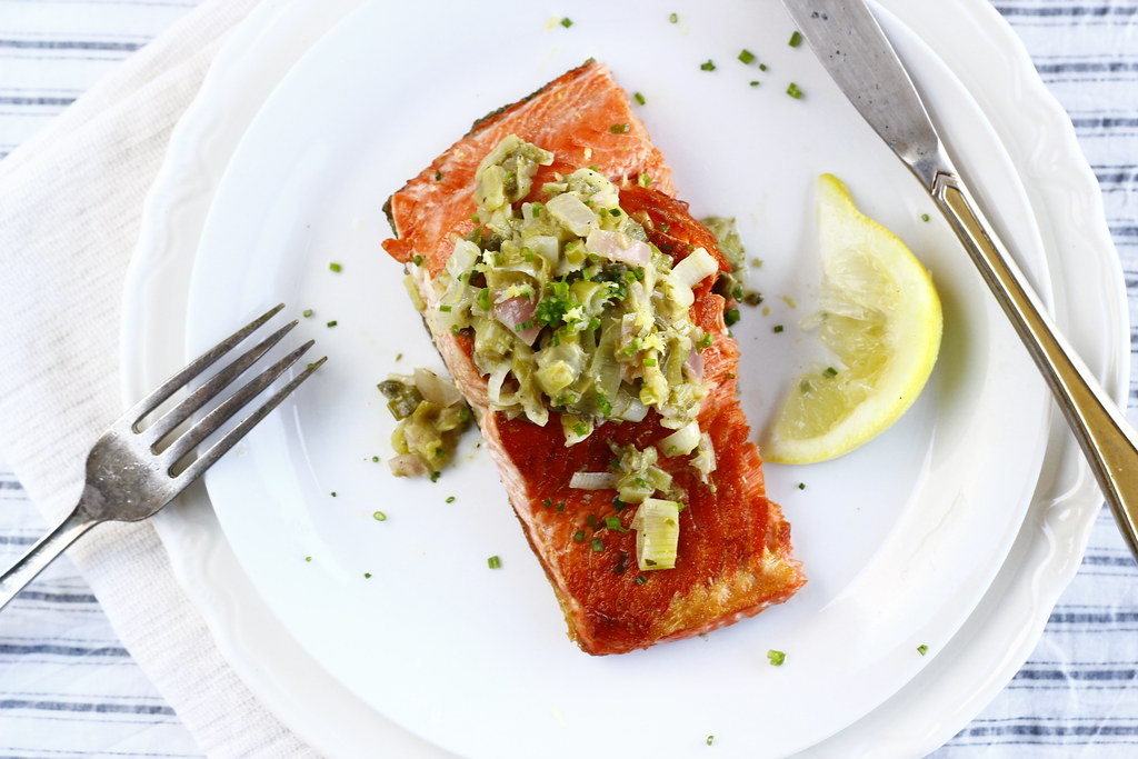 Seared Salmon with Shallot + Green Onion Relish