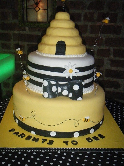 bumble bee themed baby shower cake bottom tier is blue vel