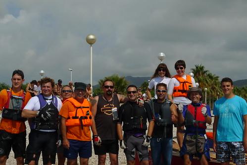Travessa Alcanar-Calafell 2011. Participants a la sortida a les Casses d'Alcanar. 30 de juliol 2011.
