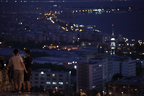 city friends boy people color tower horizontal wall night outdoors lights dof view bokeh group young greece thessaloniki byzantine gentikoule trigonio heptapyrgio