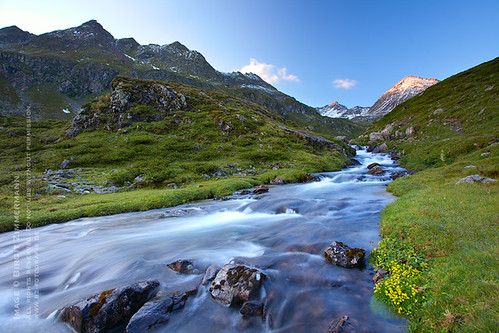 morning mountains alps creek sunrise austria styria