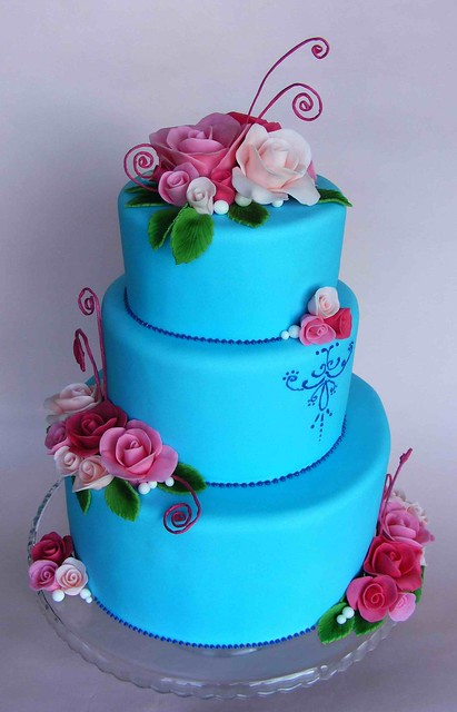 beautiful blue and pink wedding cakes blue wedding cake with roses flickr photo 11206