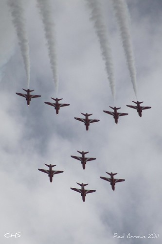 RAF Red Arrows over Carrick Roads 10th August 2011 by Stocker Images