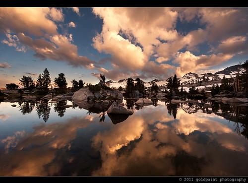 california sunset lake reflection clouds pond wilderness sierranevada johnmuirtrail pacifccresttrail
