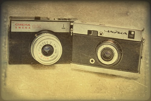 USSR 35mm film cameras, textured, old cameras