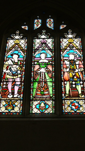 Stained Glass Window, St. Mary's Chapel, Sudeley Castle. Depicting Thomas Seymour, Katherine Parr and Henry VIII.