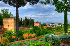 towers and wall of the Alhambra, Granada, Spain