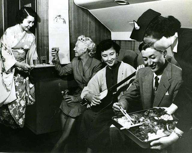 JAPAN AIR LINES -- IT'S PARTY TIME ! --  The Liquor Flows, Music Fills the Air, and Fine Japanese Cusine Hits the Spot