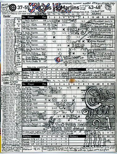 Chicago Cubs scorecard from July 15, 2011 - Wrigley Field