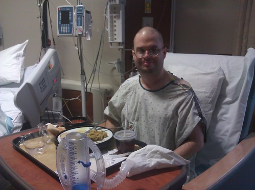 An eagerly-awaited moment: Jeff gets his first solid food, 3 days after the abdominal repair surgery at Vanderbilt.