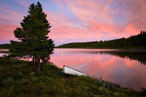 sunset moon lake tree water landscape boat moonrise buskerud canonefs1785f456isusm såtefjell nedredjupetjønn